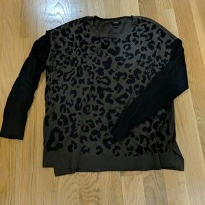Green and black leopard sweater